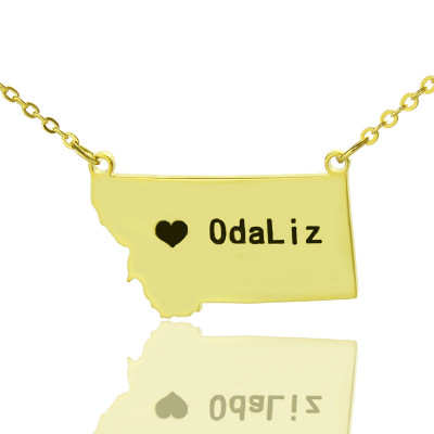 Custom Montana State Shaped Necklaces With Heart  Name Gold Plated - The Name Jewellery™