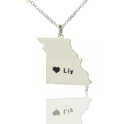 Custom Missouri State Shaped Necklaces With Heart  Name Silver - The Name Jewellery™