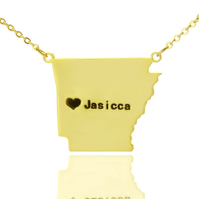 Custom AR State USA Map Necklace With Heart  Name Gold Plated - The Name Jewellery™