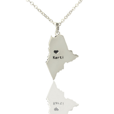 Custom Maine State Shaped Necklaces With Heart  Name Silver - The Name Jewellery™