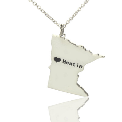 Custom Minnesota State Shaped Necklaces With Heart  Name Silver - The Name Jewellery™