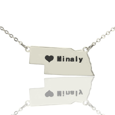 Custom Nebraska State Shaped Necklaces With Heart  Name Silver - The Name Jewellery™