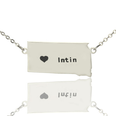 South Dakota State Shaped Necklaces With Heart  Name Silver - The Name Jewellery™