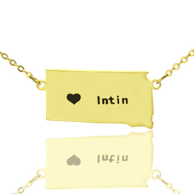 South Dakota State Shaped Necklaces With Heart  Name Gold Plated - The Name Jewellery™
