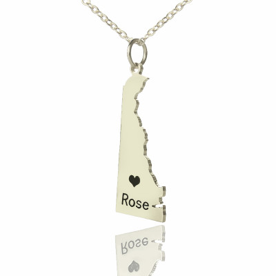 Custom Delaware State Shaped Necklaces With Heart  Name Silver - The Name Jewellery™