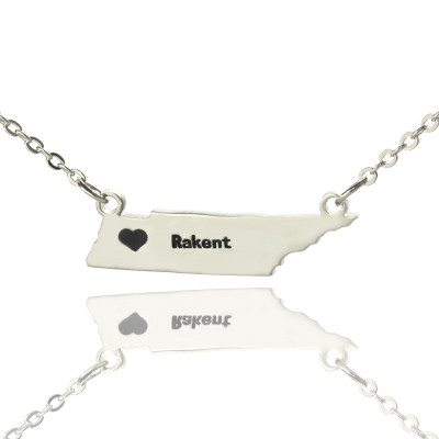 Custom Tennessee State Shaped Necklaces With Heart  Name Silver - The Name Jewellery™