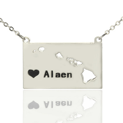 Custom Hawaii State Shaped Necklaces With Heart  Name Silver - The Name Jewellery™