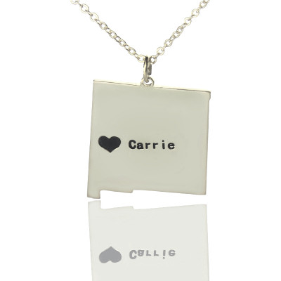 Custom New Mexico State Shaped Necklaces With Heart  Name Silver - The Name Jewellery™