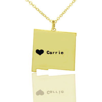 Custom New Mexico State Shaped Necklaces With Heart  Name Gold Plate - The Name Jewellery™