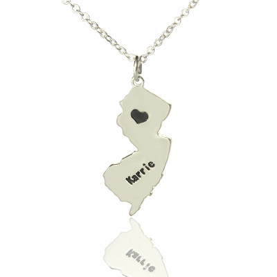 Custom New Jersey State Shaped Necklaces With Heart  Name Silver - The Name Jewellery™
