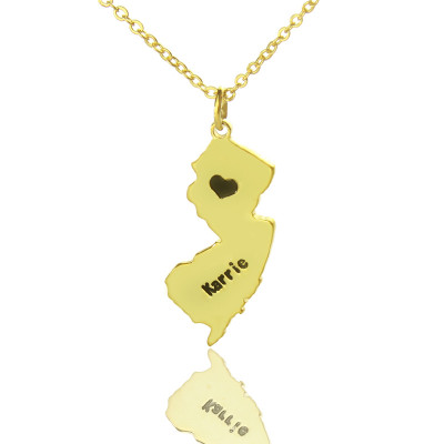 Custom New Jersey State Shaped Necklaces With Heart  Name Gold - The Name Jewellery™