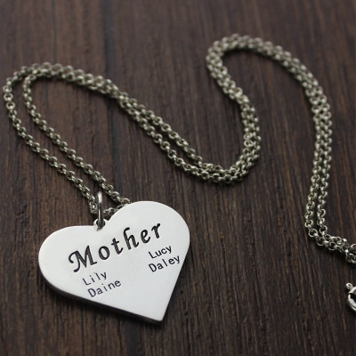 """""""Mother"""" Family Heart Necklace Sterling Silver - The Name Jewellery™"""