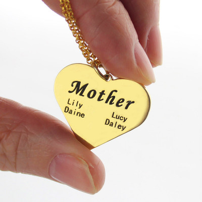"""Mother"" Heart Family Names Necklace 18ct Gold Plated - The Name Jewellery™"