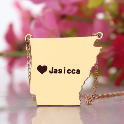Custom AR State USA Map Necklace With Heart  Name Rose Gold - The Name Jewellery™