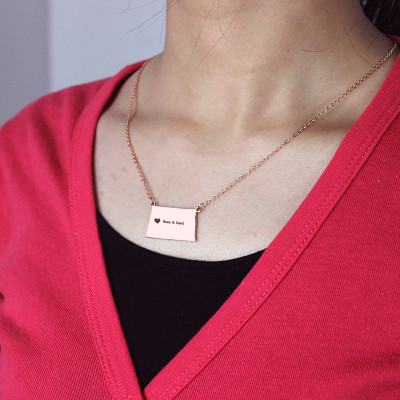 Personalised ND State USA Map Necklace With Heart  Name Rose Gold - The Name Jewellery™