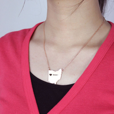 Custom Ohio State USA Map Necklace With Heart  Name Rose Gold - The Name Jewellery™