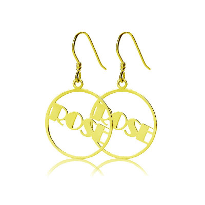 18ct Gold Plated Broadway Font Circle Name Earring - The Name Jewellery™