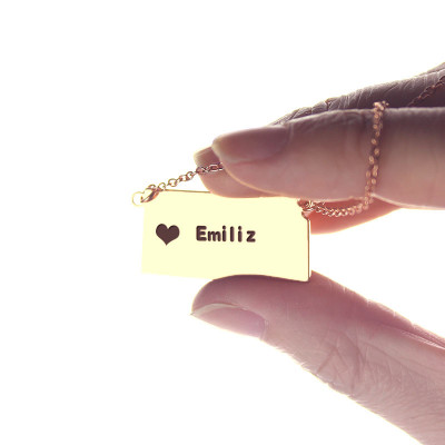 Custom Kansas State Shaped Necklaces With Heart  Name Rose Gold - The Name Jewellery™