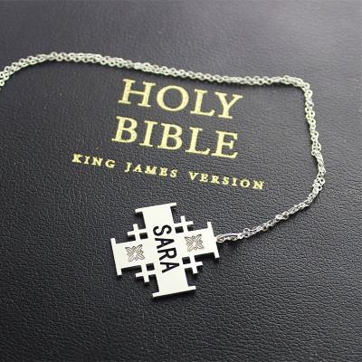 Silver Jerusalem Cross Name Necklace - The Name Jewellery™