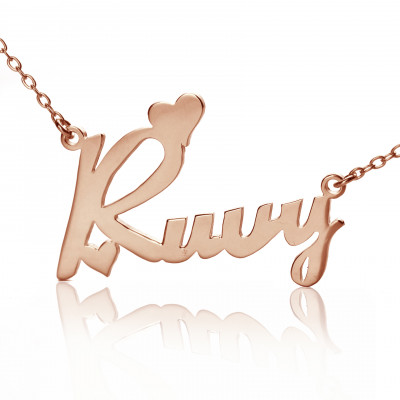 Personalised 18ct Rose Gold Plated Fiolex Girls Fonts Heart Name Necklace - The Name Jewellery™
