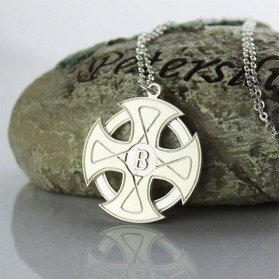 Engraved Celtic Cross Necklace Silver - The Name Jewellery™