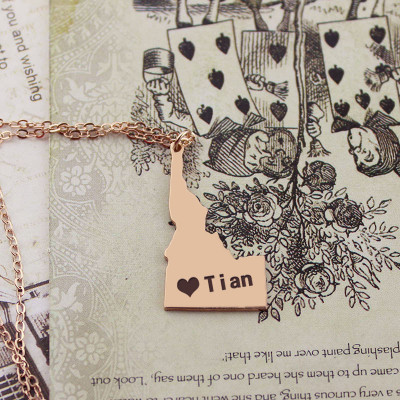 Idaho State USA Map Necklace With Heart  Name Rose Gold - The Name Jewellery™