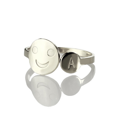 Personalised Smile Ring with Initial Sterling Silver - The Name Jewellery™