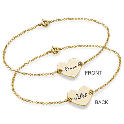 18ct Gold Plated Engraved Couples Heart Bracelet/Anklet - The Name Jewellery™