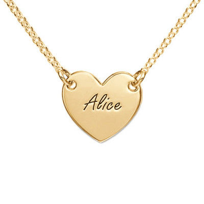 18ct Gold Plated Heart Necklace with Engraving - The Name Jewellery™