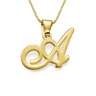 18ct Gold-Plated Initials Pendant With Any Letter - The Name Jewellery™