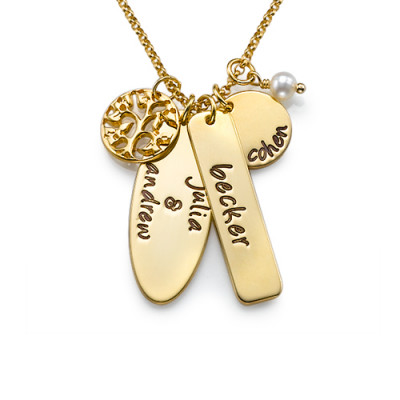 18ct Gold Plated Silver Family Tree Jewellery - The Name Jewellery™