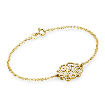 18ct Gold Plated Silver Monogram Bracelet/Anklet - The Name Jewellery™