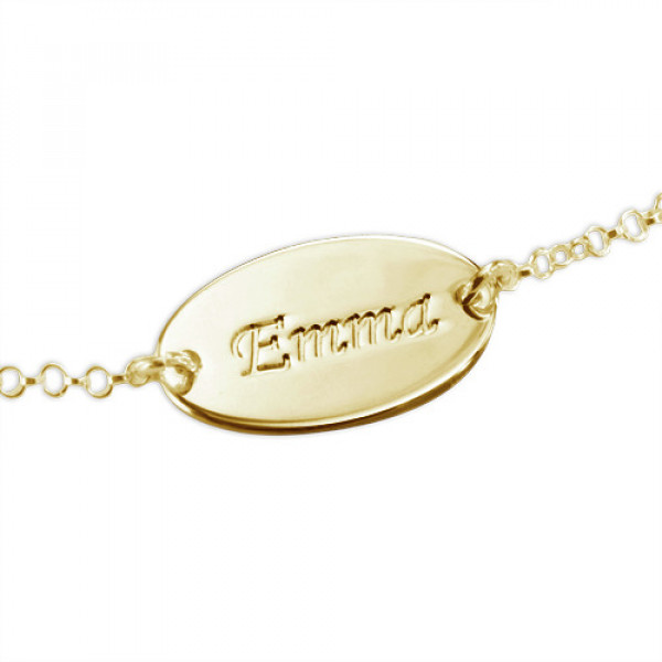 18ct Gold-Plated Silver Personalised Baby Bracelet/Anklet - The Name Jewellery™