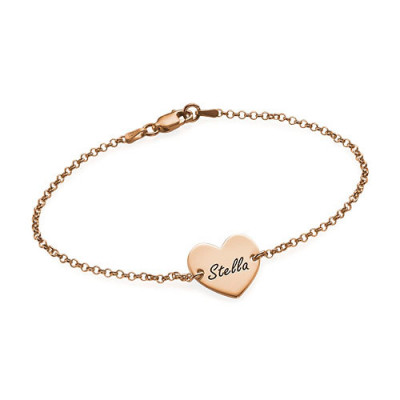 18ct Rose Gold Plated Engraved Heart Couples Bracelet/Anklet - The Name Jewellery™
