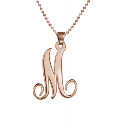 18ct Rose Gold Plated Single Initial Necklace - The Name Jewellery™