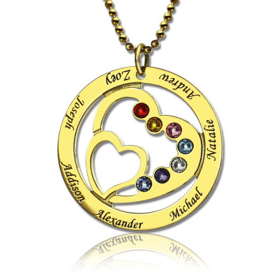 Heart in Heart Birthstone Name Necklace 18ct Gold Plated - The Name Jewellery™