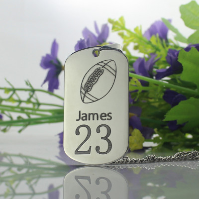 Man's Dog Tag Rugby Name Necklace - The Name Jewellery™