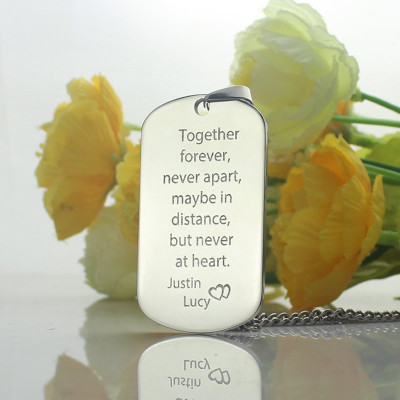 Man's Dog Tag Love Theme Name Necklace - The Name Jewellery™