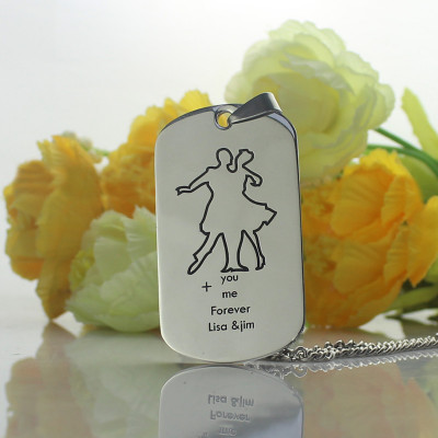 Dancing Theme Dog Tag Name Necklace - The Name Jewellery™