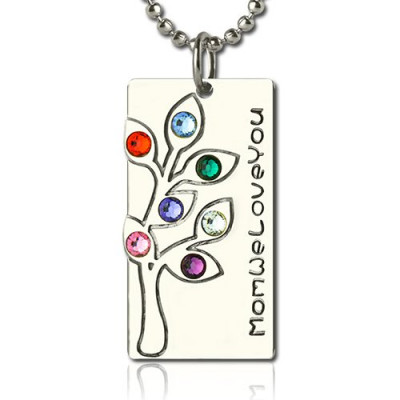 Birthstone Mother Family Tree Necklace Gifts Sterling Silver - The Name Jewellery™