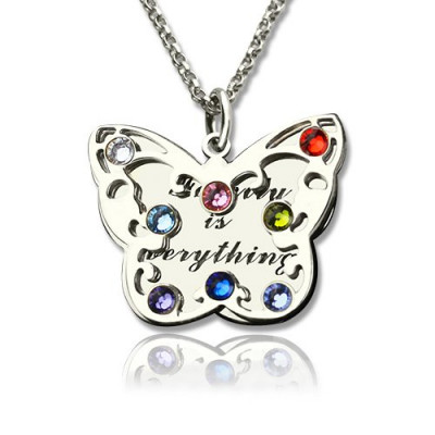 Personalised Birthstone Butterfly Necklace Sterling Silver - The Name Jewellery™