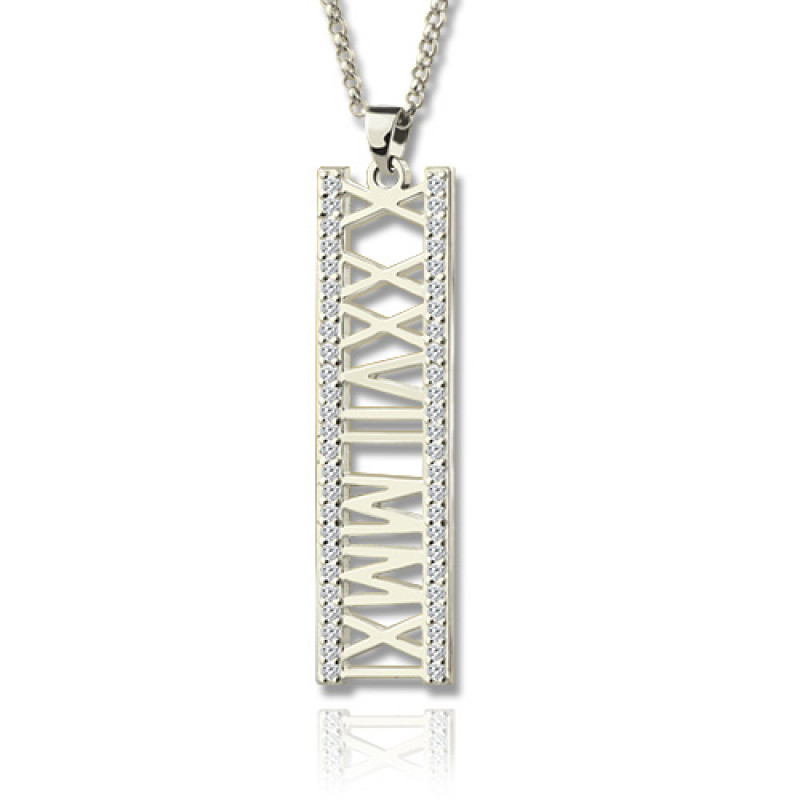 Roman Numeral Vertical Necklace With Birthstones Sterling