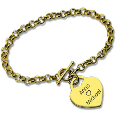 Personalised Heart Name Bracelets 18ct Gold Plated - The Name Jewellery™