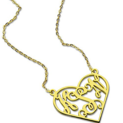 Cut Out Heart Monogram Necklace 18ct Gold Plated - The Name Jewellery™