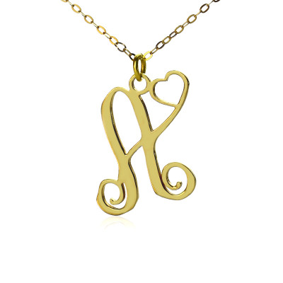 Personalised One Initial With Heart Monogram Necklace in 18ct Solid Gold - The Name Jewellery™