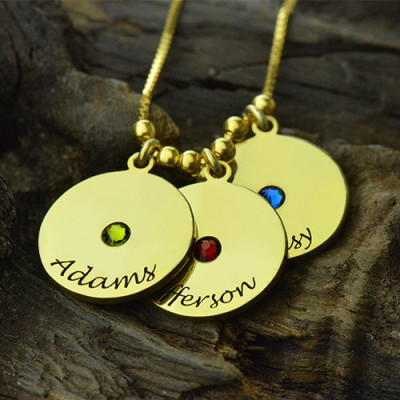 Mother's Disc and Birthstone Charm Necklace 18ct Gold Plated - The Name Jewellery™