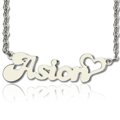 Custom BANANA Font Heart Shape Name Necklace White Gold  18ct - The Name Jewellery™