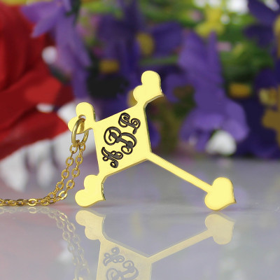 Engraved Cross Monogram Necklace 18ct Gold Plated - The Name Jewellery™