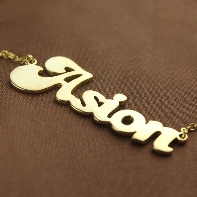 Personalised 18ct Gold Plated BANANA Font Style Name Necklace - The Name Jewellery™