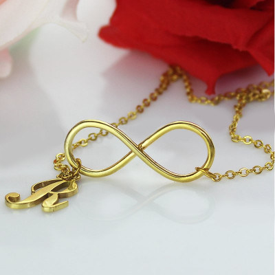 Infinity Knot Initial Necklace 18ct Gold plating - The Name Jewellery™